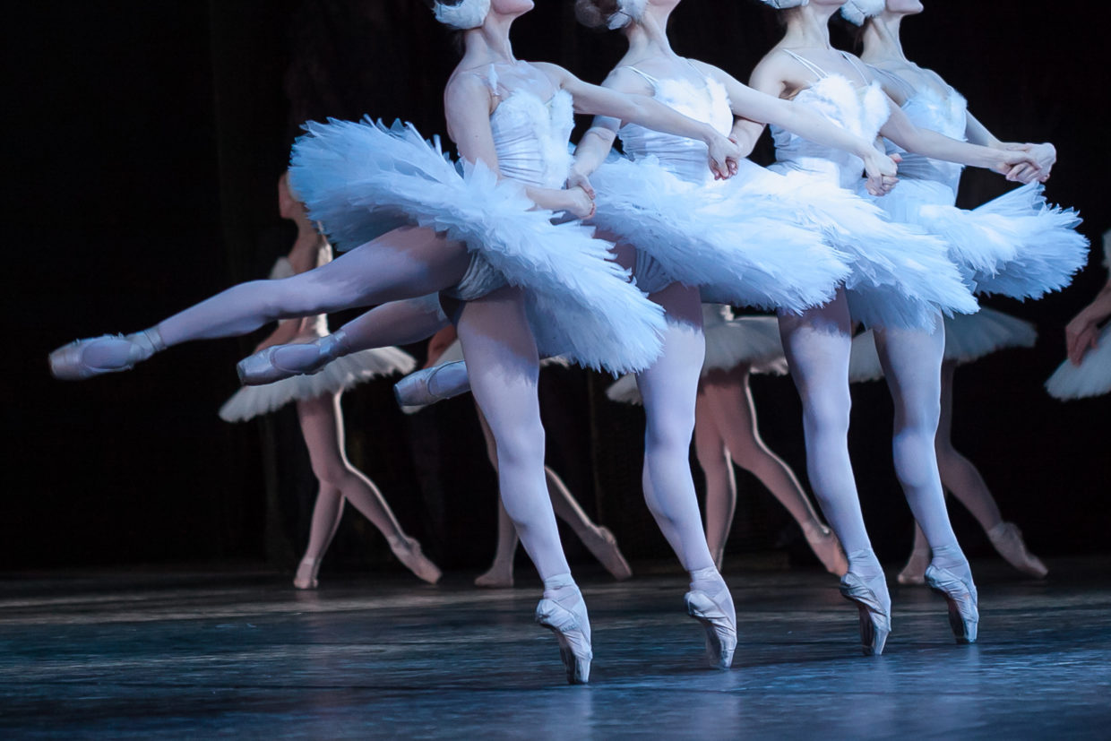 beauty, agility, dancing concept. arm in arm four elegant and graceful female ballet dancers, playing the roles of petite swans, moving, dancing and jumping synchronously
